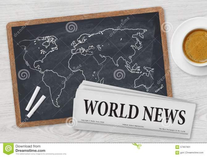world-news-newspaper-coffee-map-draw-blackboard-57907901